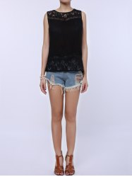 Split Back Lace Chiffon Tank Top - BLACK