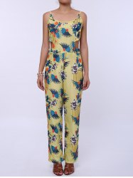 Cutout Spaghetti Strap Floral Print Backless Jumpsuit - YELLOW