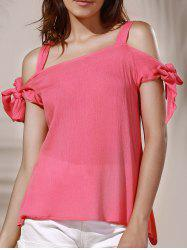 Sweet Spaghetti Strap Pure Color Cut Out Blouse For Women - LIGHT PINK