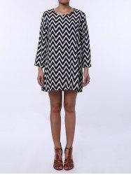 Casual Style Round Neck Long Sleeve Printed Loose-Fitting Women's Dress -