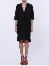 Casual Plunging Neck Batwing Sleeve Ruffled Maxi Dress - BLACK