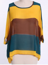 Bohemian Colorful Broad Stripe Print Loose Fit Batwing Sleeve Women's Spring Blouse -