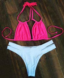 Stylish Double Halter Cut Out Women's Bikini Set