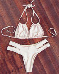 Stylish Double Halter Neck Solid Color Women's Bikini Set