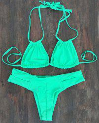 Alluring Double Halter Neck Solid Color Women's Bikini Set