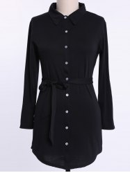 Long Sleeve Plus Size Button Up Shirt Dress