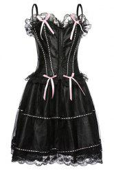 Chic Spaghetti Strap Lace Spliced Bowknot Embellished Women's Corset -