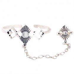 Vintage Alloy Geometric Bracelet With Ring