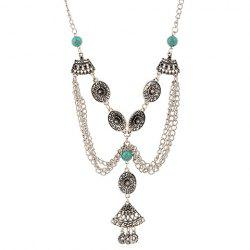 Retro Bead Flower Hollow Out Coin Tassel Necklace -