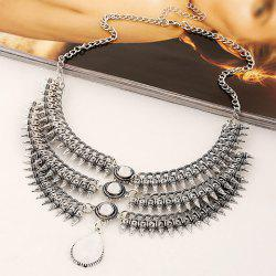 Stylish Fake Gem Multilayer Cone Necklace For Women - WHITE