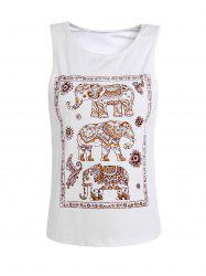 Elephant Print Scoop Neck Tank Top