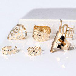 A Suit of Vintage Geometric Leaf Cuff Rings - GOLDEN