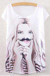 Scoop Neck Girl Print T-Shirt -