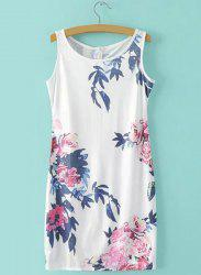 Casual Sleeveless Round Neck Women's Bodycon Floral Print Dress -