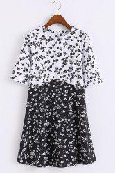 Preppy Round Collar Half Sleeve  Women's Tiny Floral Print Dress -