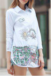 Embroidered Slit Long Sleeve Shirt -