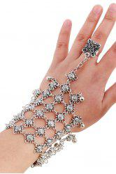 Chic Bead Hollow Plaid Bracelet and Ring For Women - SILVER