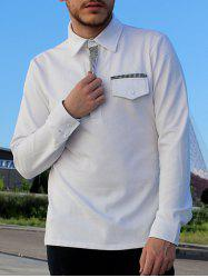 Turn-Down Collar Button Embellished Pocket Long Sleeve Men's Polo T-Shirt - WHITE 2XL