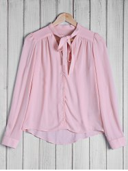 Stylish Bow Tie Collar Solid Color Long Sleeve Blouse For Women