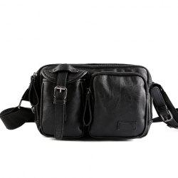 Casual Buckle and Black Color Design Messenger Bag For Men