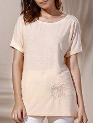 Stylish Short Sleeve Scoop Neck Lace Embellished Women's T-Shirt