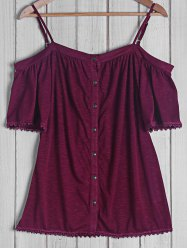Sexy Strappy Short Sleeve Button Top For Women -