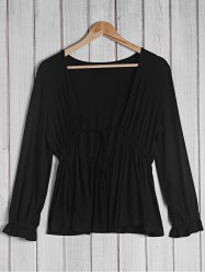 Trendy Plunging Neck 3/4 Sleeve Black Blouse For Women
