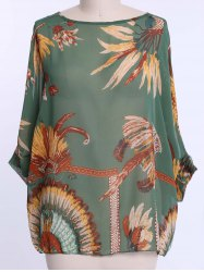 Batwing Sleeves Feather Print Casual Flowy Blouse - GREEN XL