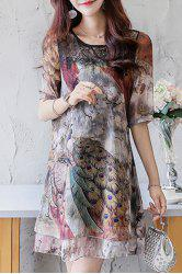 Animal Print Lace Panel Chiffon Mini Print Dress - COLORMIX