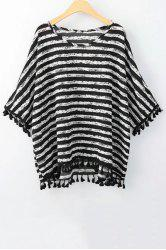 Stylish Scoop Neck 3/4 Sleeve Striped Print Women's T-Shirt -