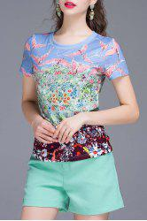 Birds Printed T-Shirt and Shorts Twinset -