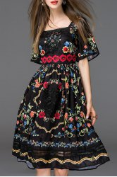 Embroidered Bell Sleeve Dress -