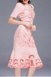 Embroidered Solid Color Mermaid Dress -