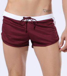 Lace-Up Color Block Spliced Straight Leg Boxer Shorts For Men