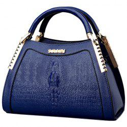 Fashion Crocodile Print and Metal Design Tote Bag For Women - BLUE
