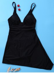 Plunging Neck Skirted One Piece Swimsuit - BLACK