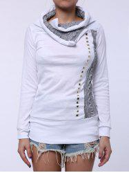 Stylish Turn-Down Collar Rivet Embellished Long Sleeve T-Shirt For Women - WHITE