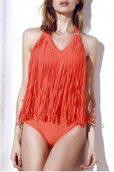 Fringe Embellished One-Piece  Halter Swimsuit
