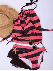 Stylish Halter Striped Four-Piece Swimsuit For Women - PINK