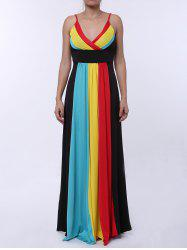 Sexy Spaghetti Strap Sleeveless Color Block Maxi Dress For Women - COLORMIX