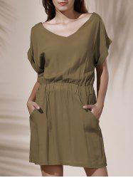 Casual Solid Color V-Neck Elastic Waist Loose Dress For Women