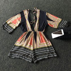 Trendy Plunging Neck 3/4 Sleeve Multicolor Striped Backless Women's Romper - COLORFUL