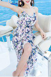 Stylish Spaghetti Straps Sleeveless Bohemian Floral Print Women's Dress
