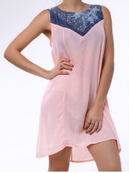 Denim Trim Rhinestone Embellished Sleeveless Shift Dress - LIGHT PINK