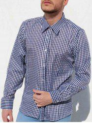 Casual Turn-Down Collar Pliad Print Slimming Long Sleeve Men's Shirt -