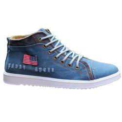 Stylish Denim and Lace-Up Design Casual Shoes For Men -