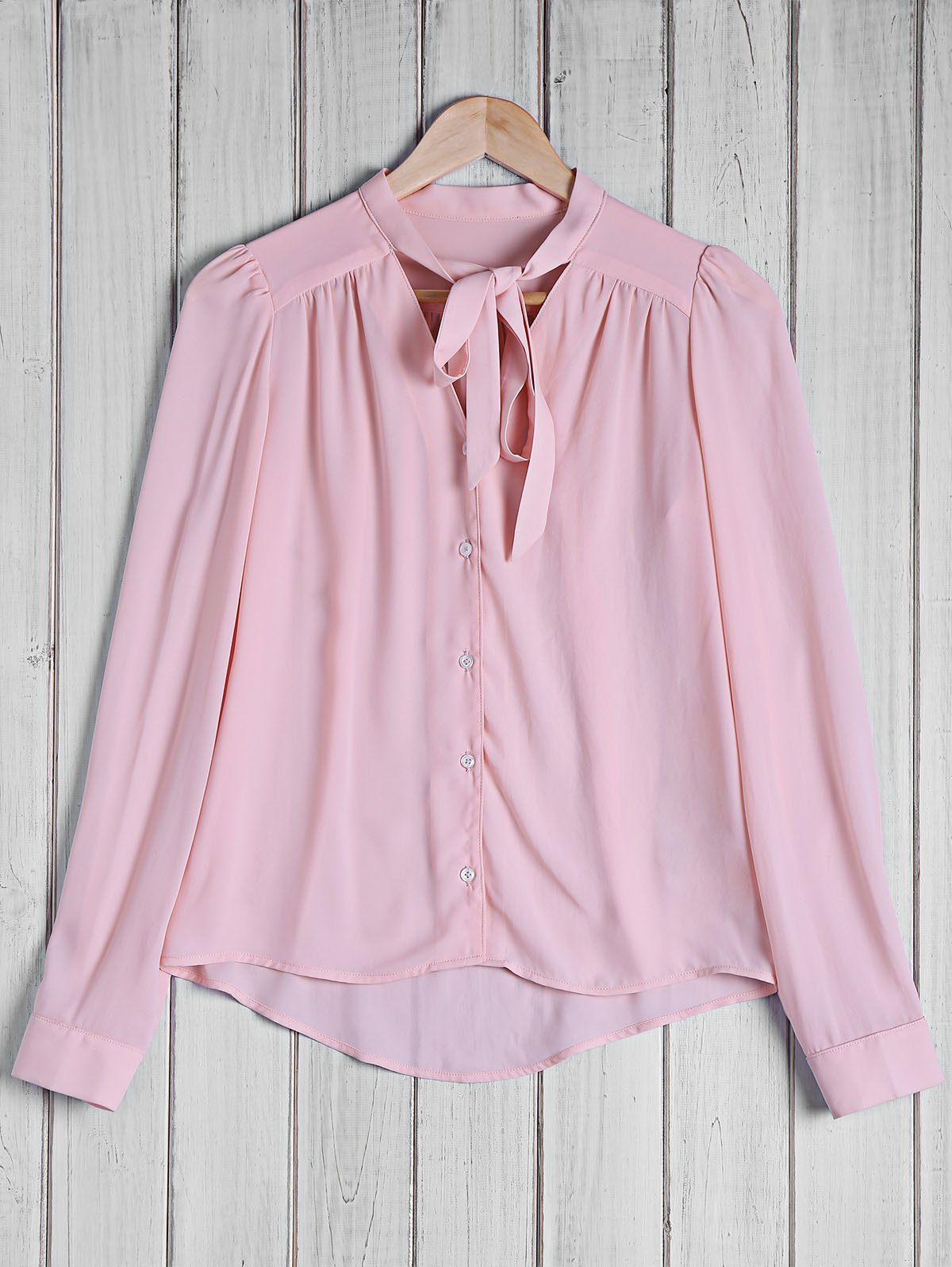 Online Stylish Bow Tie Collar Solid Color Long Sleeve Blouse For Women