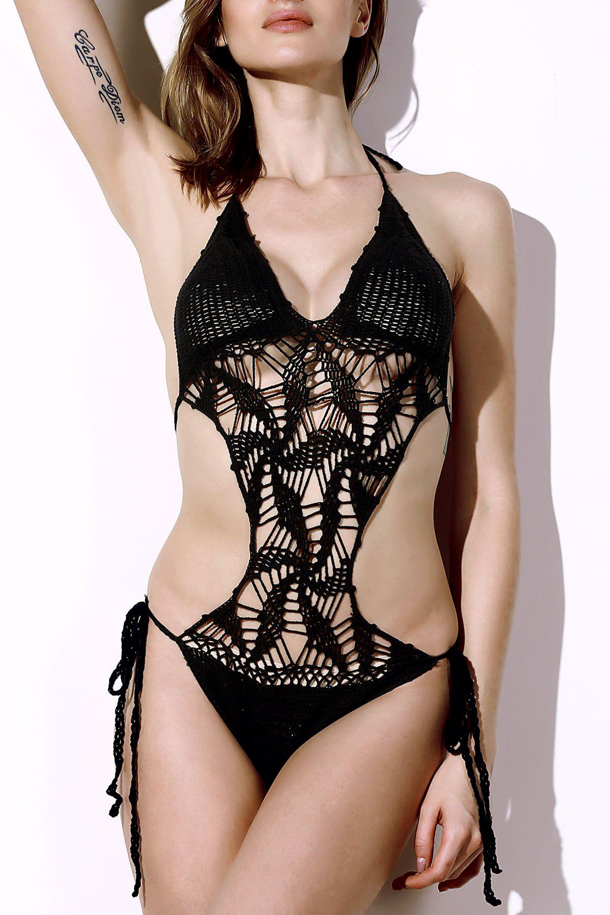 Online Halter Hollow Out Knitted Crochet String Monokini Swimsuit