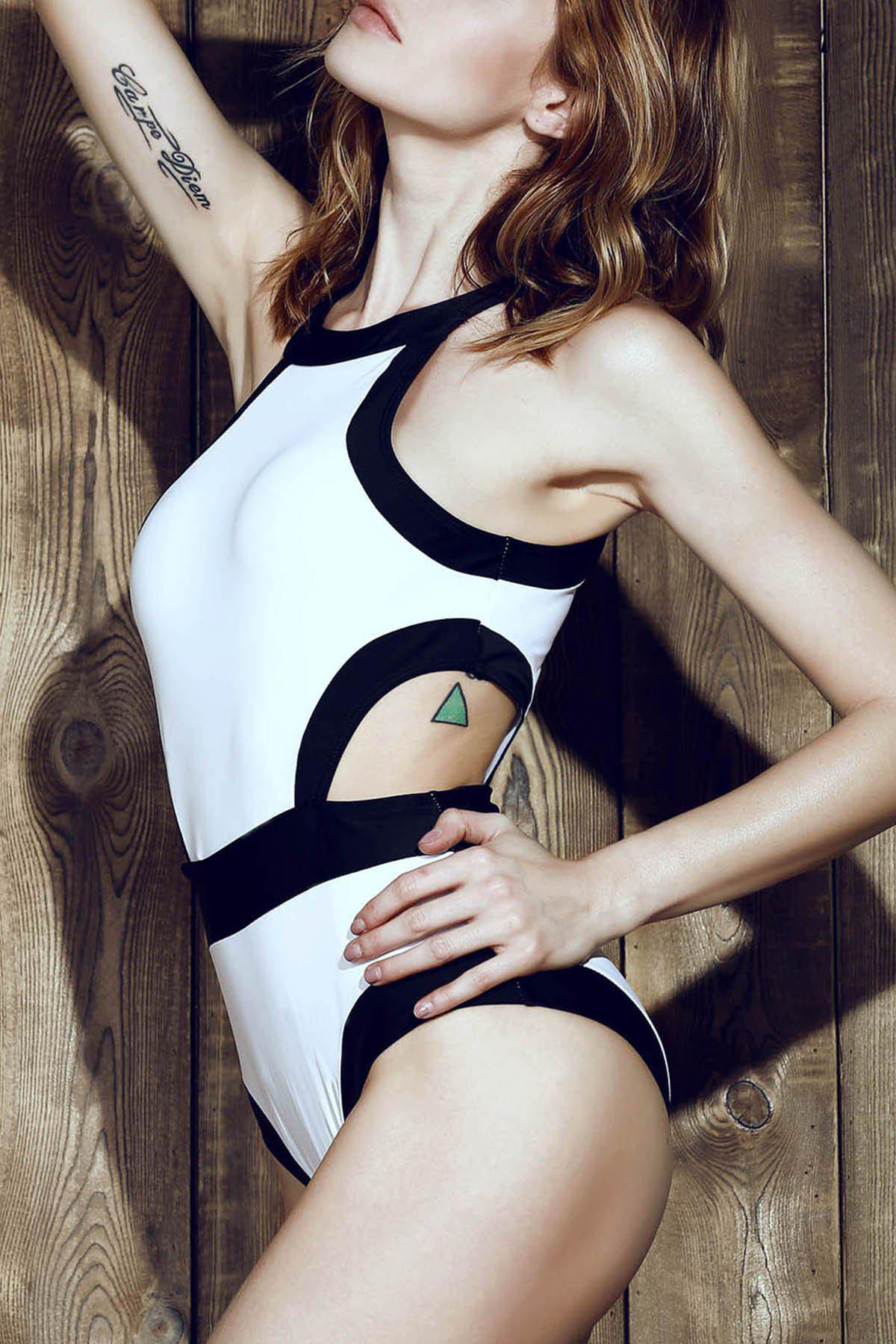 b4af594e0c Best Sexy Round Neck Color Splicing Backless One-Piece Swimsuit For Women