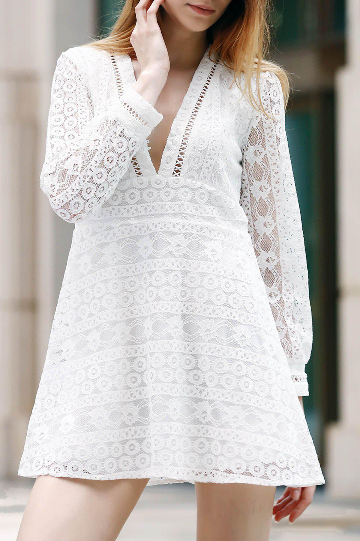Unique Trendy Plunging Neck Long Sleeve Hollow Out Solid Color Women's Dress